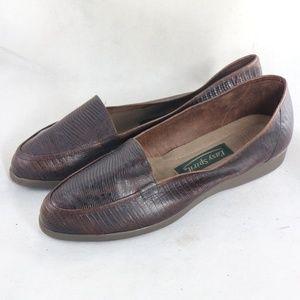 EASY SPIRIT Brown Lizard/Croc Embossed Loafers
